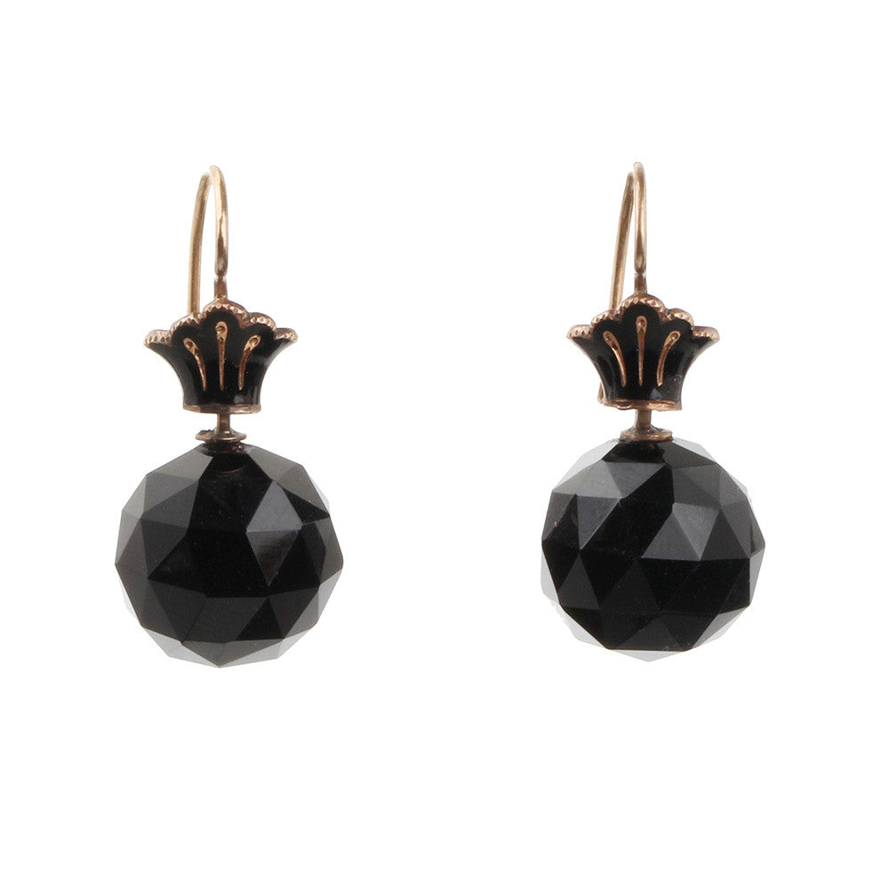 Victorian Onyx Facetted Ball Earrings