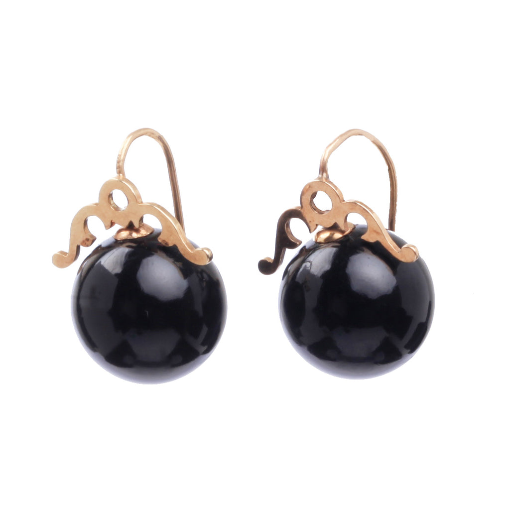 Victorian Era Onyx Earrings