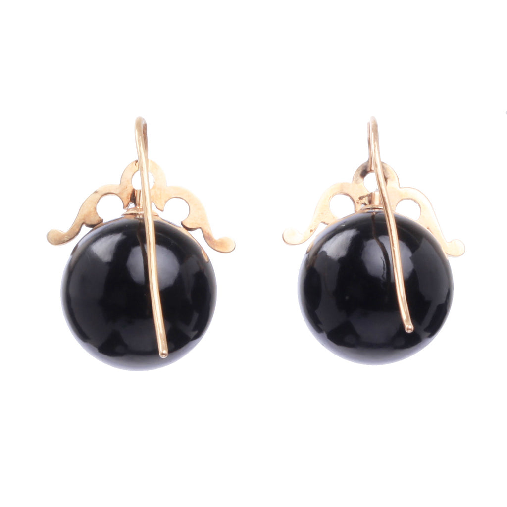 Victorian Era Onyx and Rose Gold Earrings