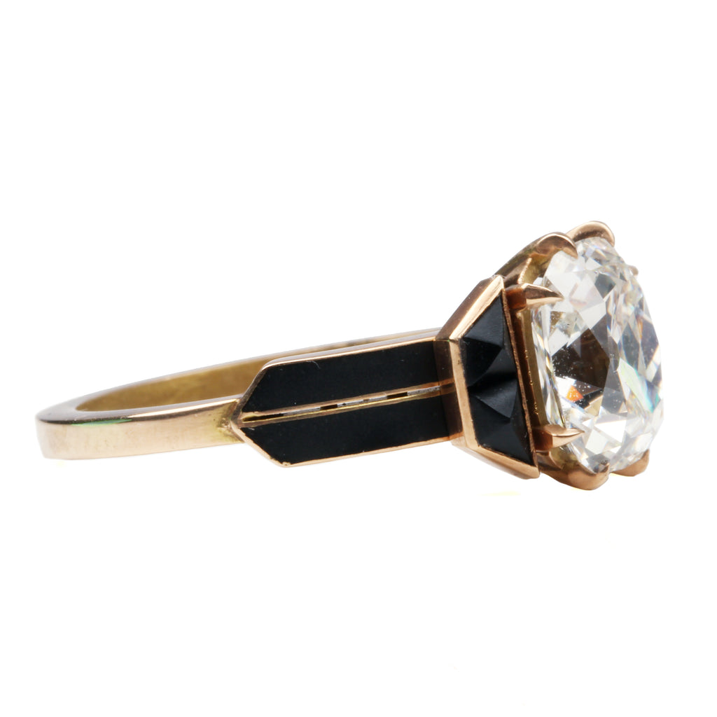 Tapered Enamel and Onyx Old Mine Cut Diamond Ring