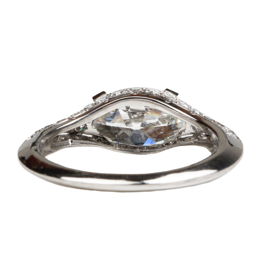 Diamond Split Shank Ring with Antique Oval Stone