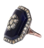 18th Century Paste & Blue Glass l'enfantement Ring