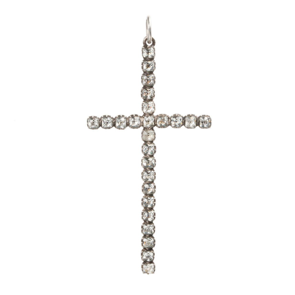 Georgian Era White Paste Cross in Silver