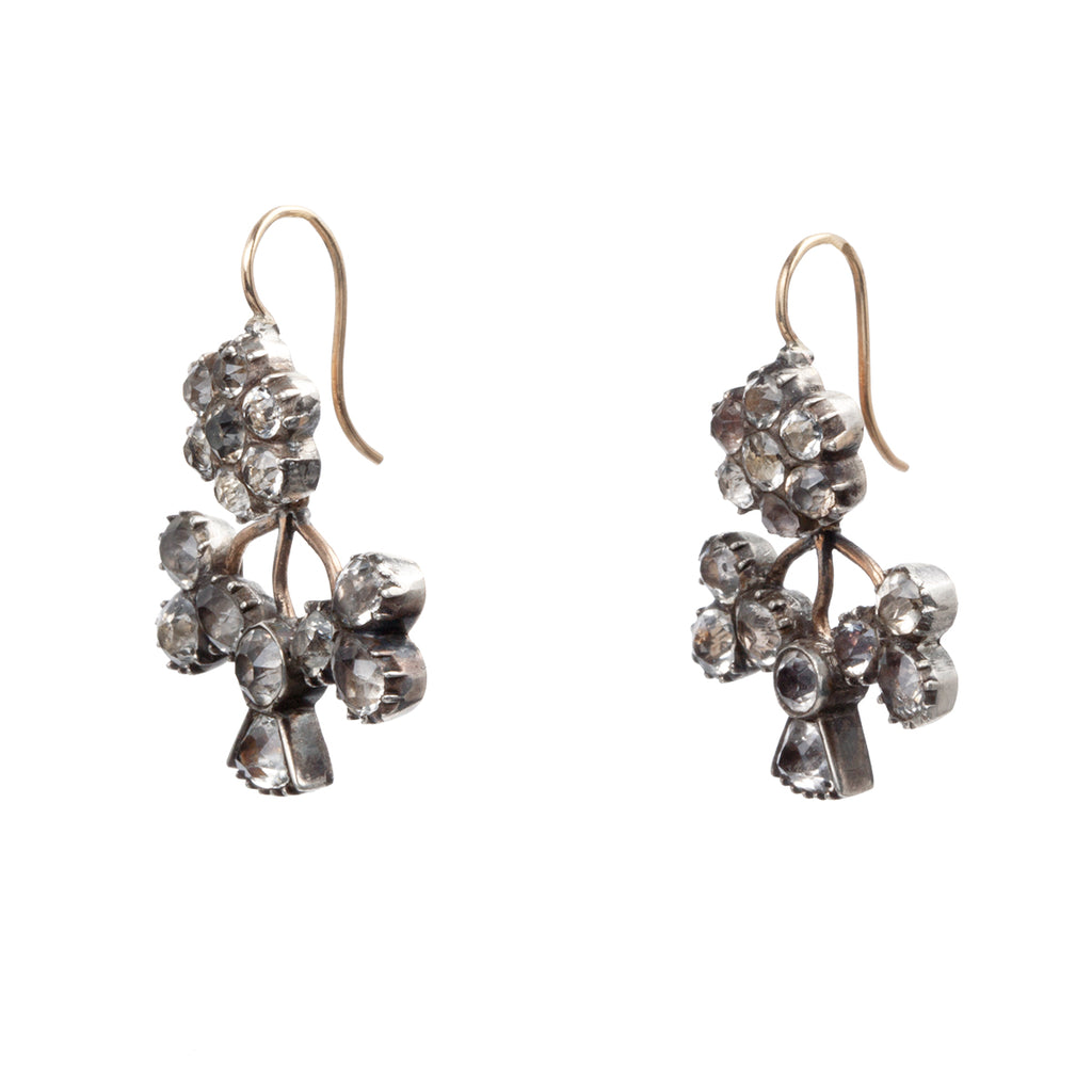 Georgian Era Act of the Union Thistle, Shamrock and Rose Paste Earrings