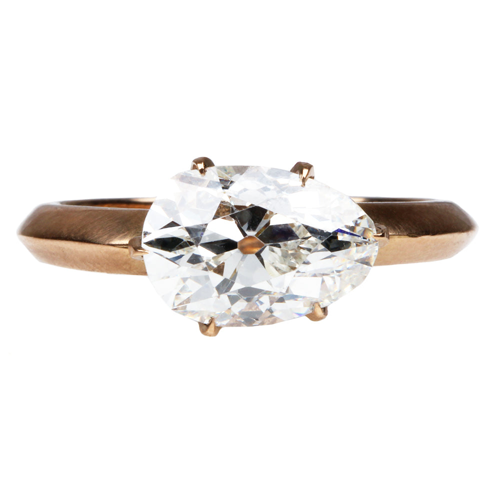 Custom Antique Pear Shaped Diamond Ring