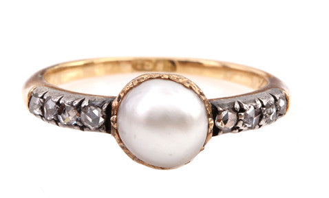 Pearl and Rose Cut Diamond Ring