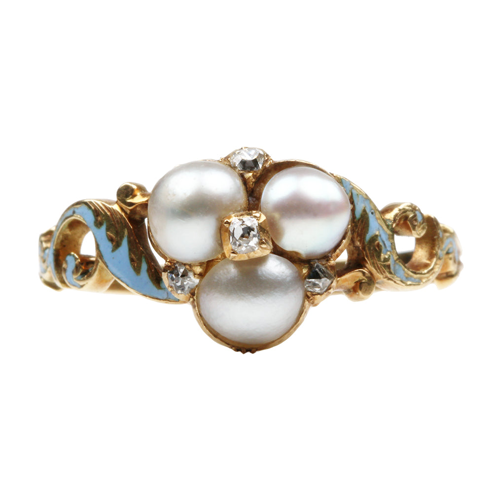 Early Victorian Era Pearl and Diamond Ring