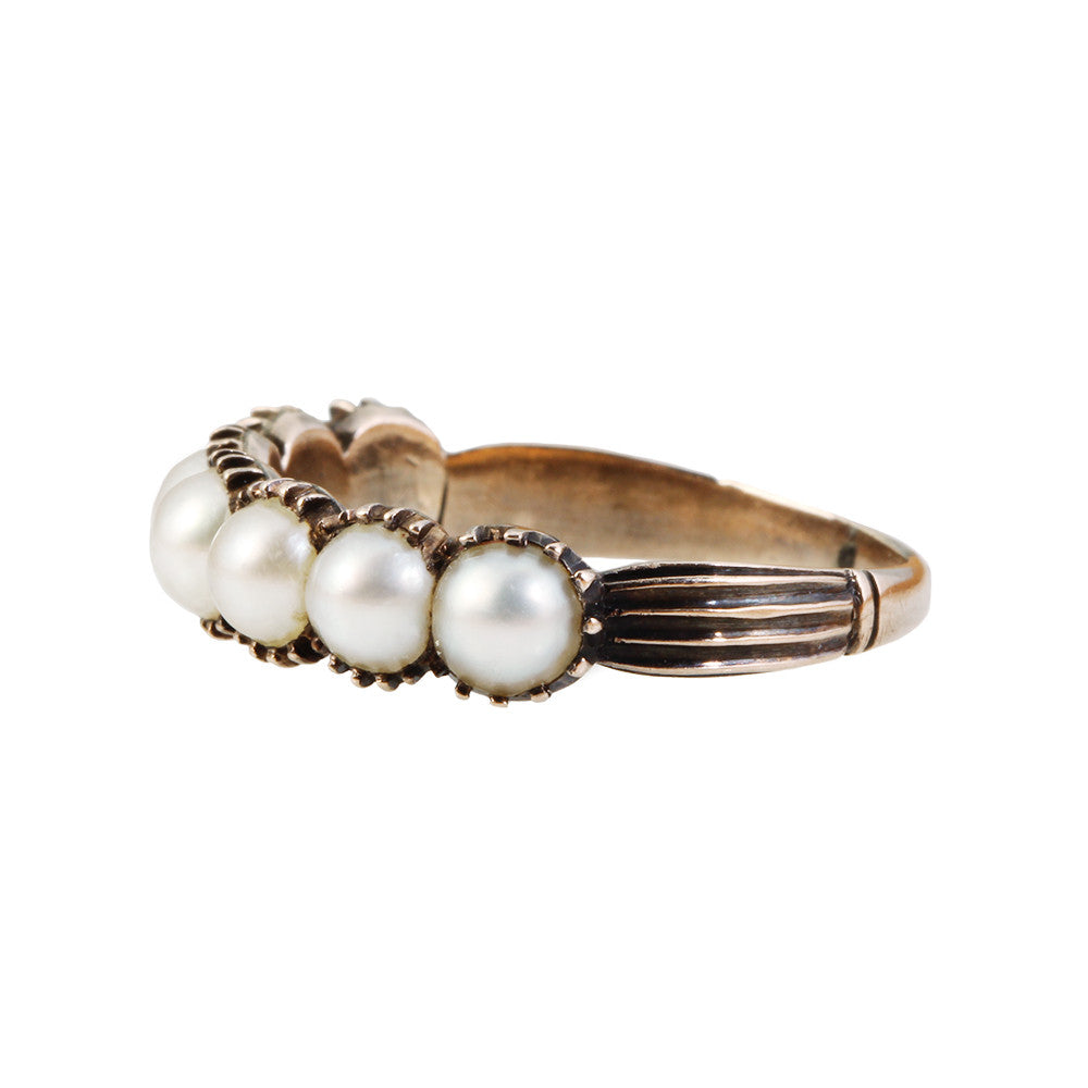 Georgian Pearl Half Hoop Band