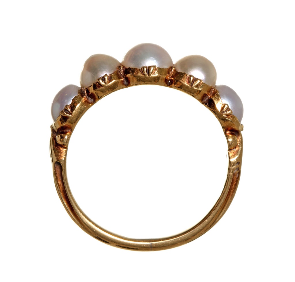 Georgian Era Natural Pearl Half-Hoop Ring
