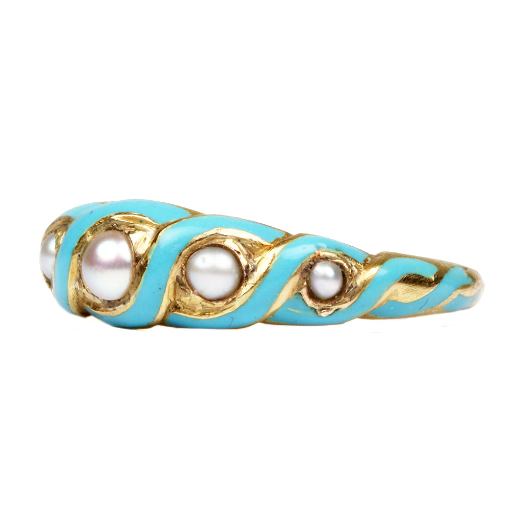 Early 19th Century Pearl and Blue Enamel Ring