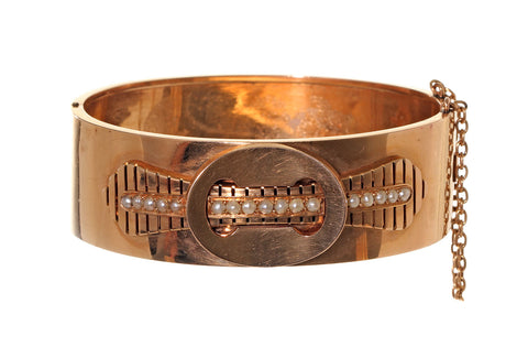 Napoleon III Rose Gold French Bangle Bracelet With Pearls