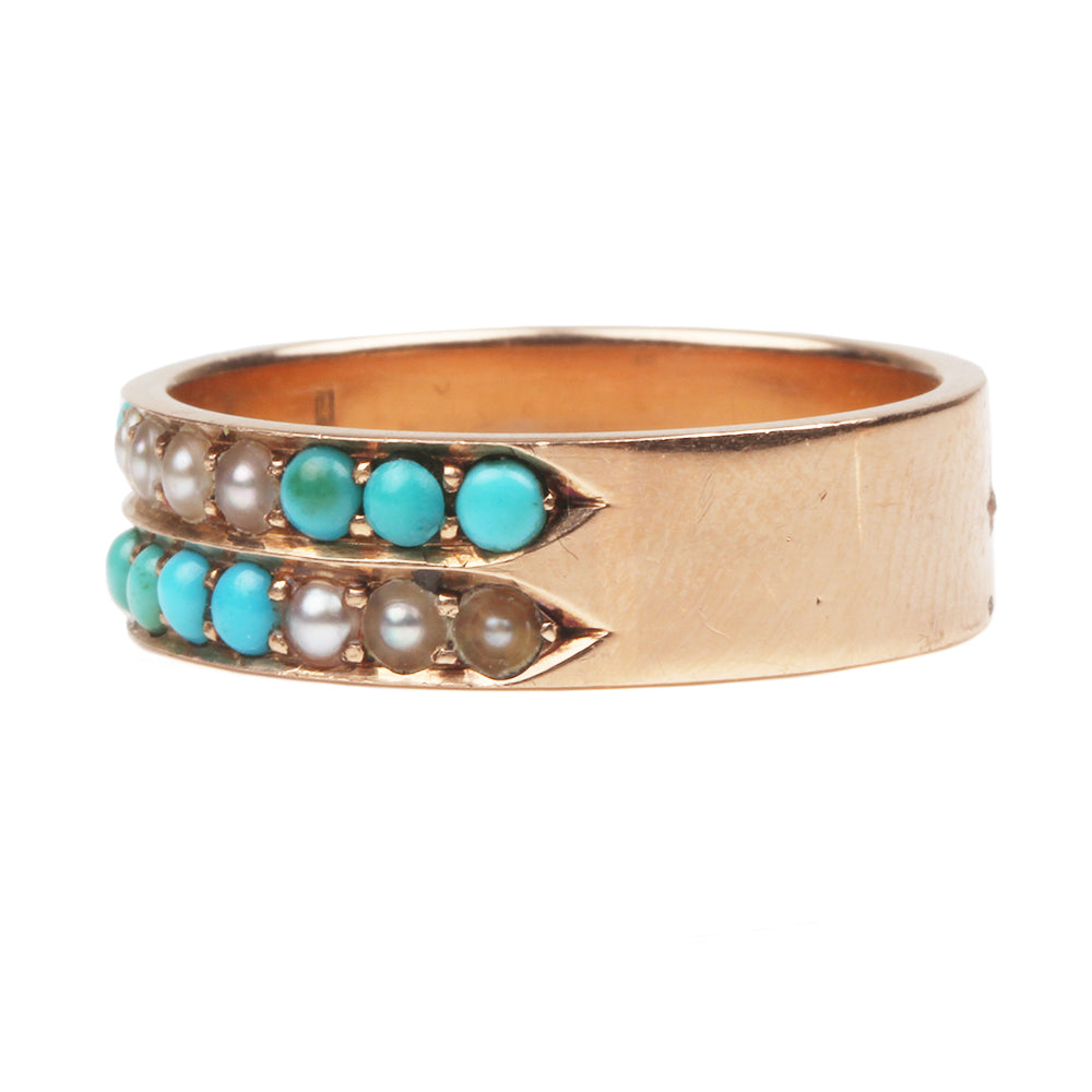 Victorian Turquoise and Pearl Ring