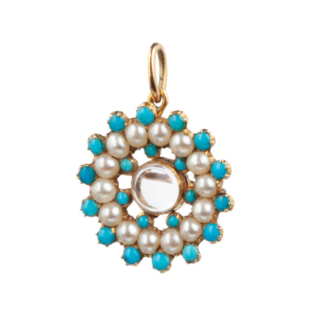 Early Victorian Era Turquoise and Pearl Locket