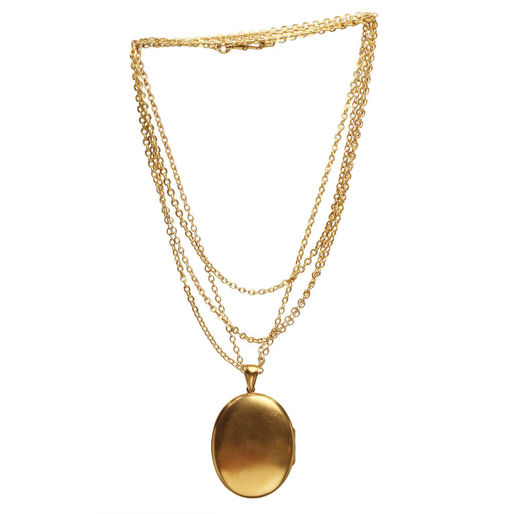 Victorian Gilded Locket Necklace