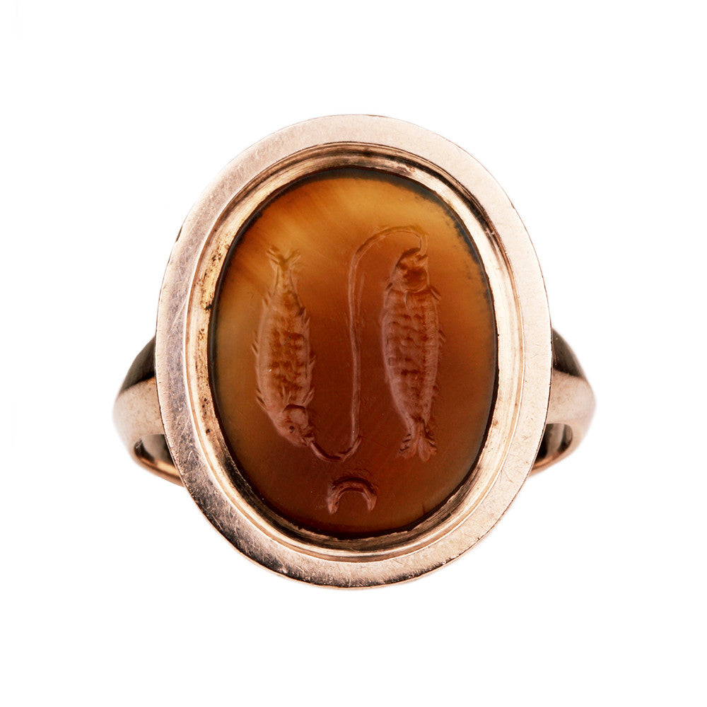 19th Century Intaglio Pisces Ring