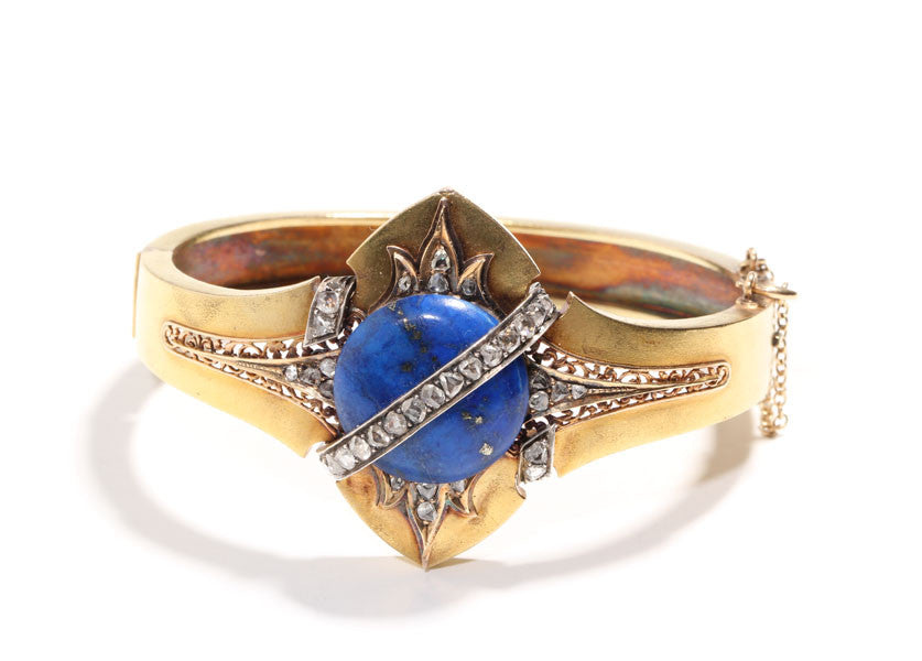 Victorian Lapis & Diamond Gold Bangle