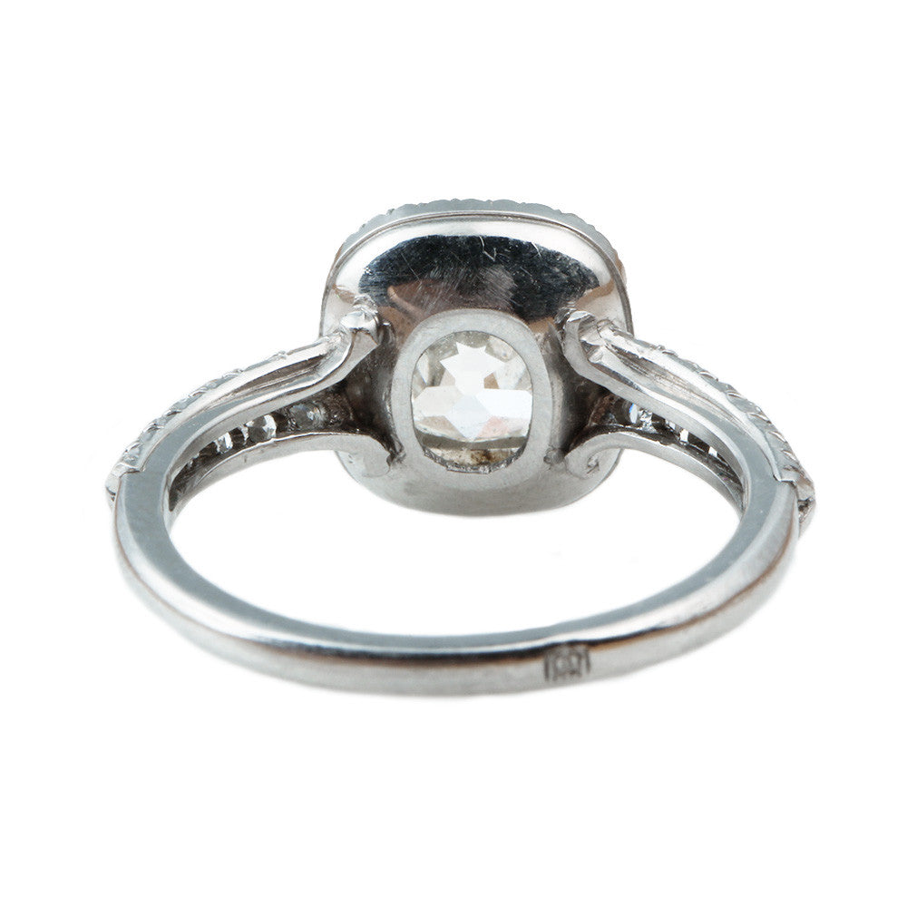 Platinum Old Mine Cut Diamond Cluster Ring
