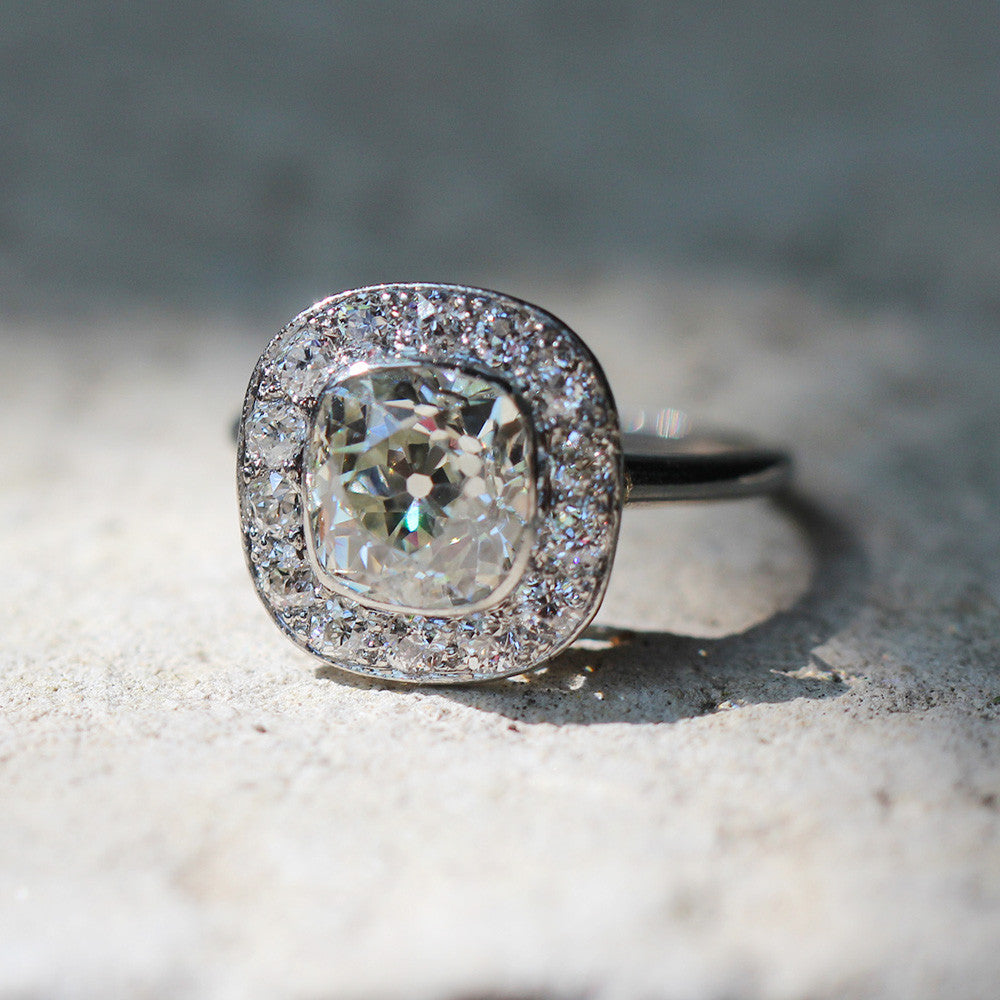 Edwardian Platinum Old Mine Cut Diamond Cluster Ring