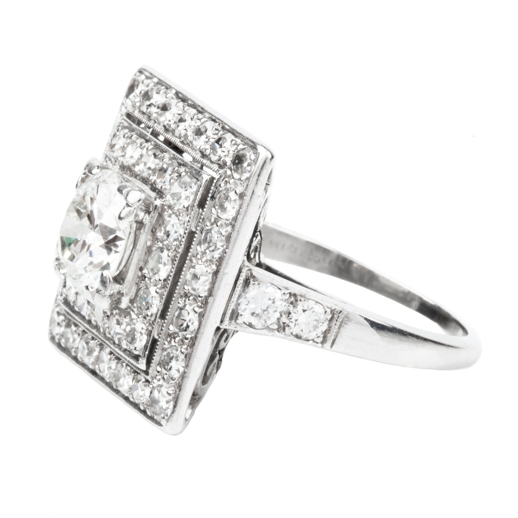 Art Deco Old European Cut Diamond Ring in a Square Halo
