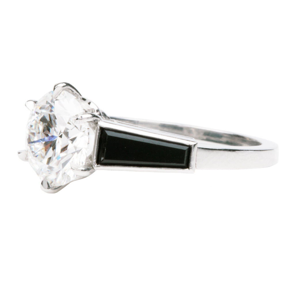 Art Deco Inspired Onyx and Round Brilliant Cut Diamond Ring