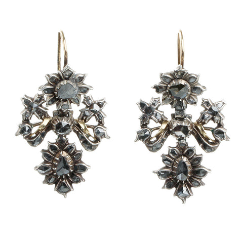 18th Century Portuguese Lazo Diamond Earrings