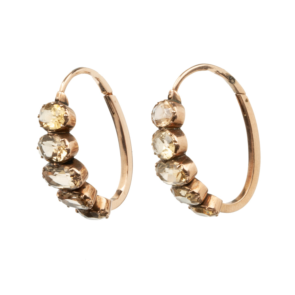 Early 19th Century Elongated Gold Hoop Earrings with Topaz