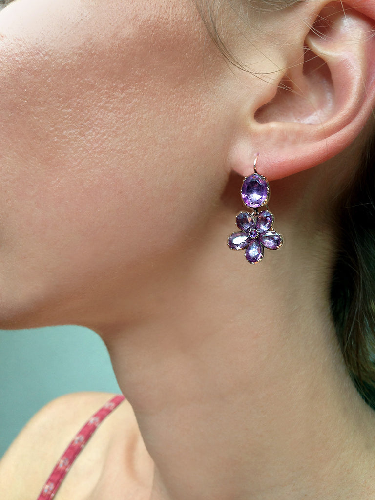 Georgian Amethyst Pansy Love Token Earrings