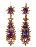 Bold Georgian Amethyst and Gold Earrings