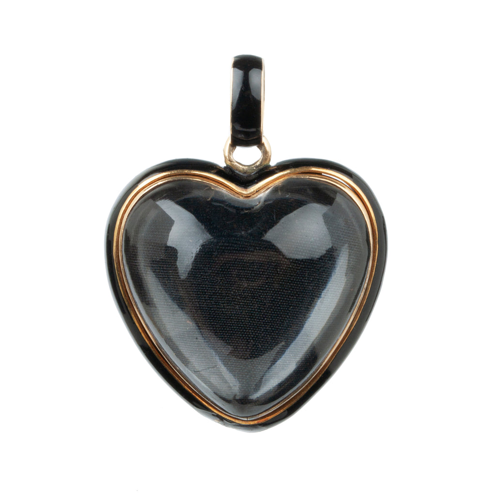 "Victoria Rock Crystal Heart Locket Carved and painted ""RR"""