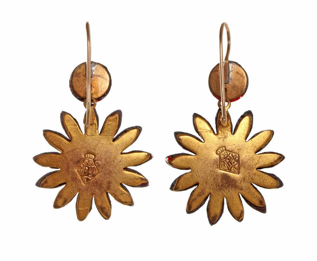 Early Victorian Red Vauxhall Glass Daisy Earrings