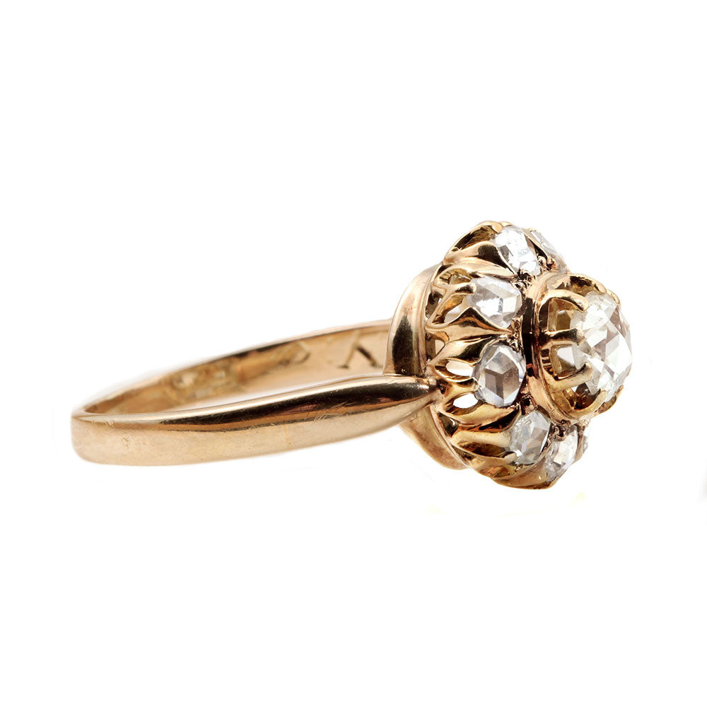 19th Century Rose Cut Diamond Cluster Ring
