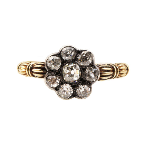 19th Century Old Mine Cut Diamond Cluster Ring