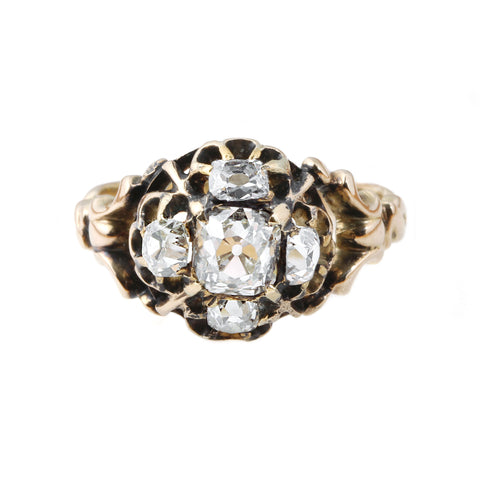 Old Mine Cut Victorian Era Diamond Quatrefoil Ring