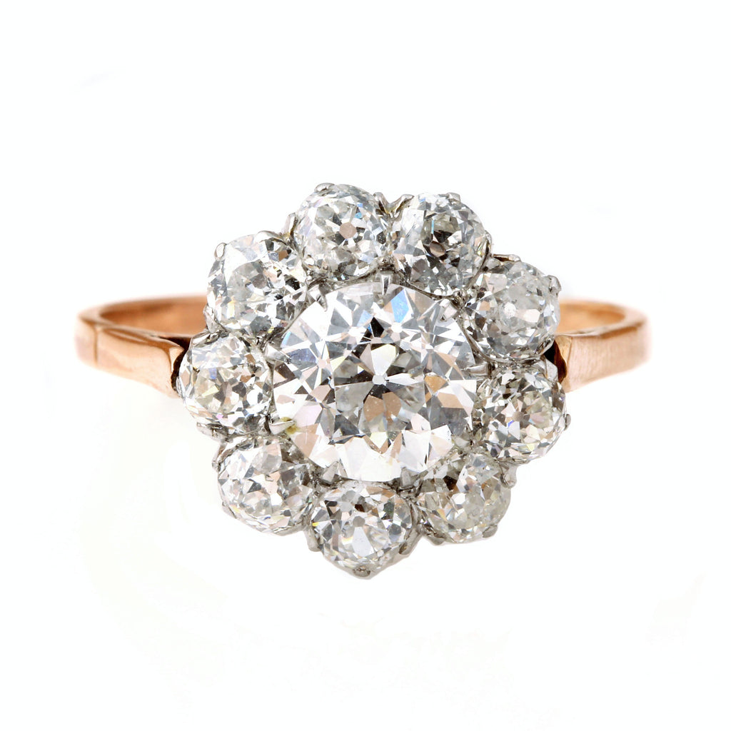 European Cut Center Diamond Cluster Ring