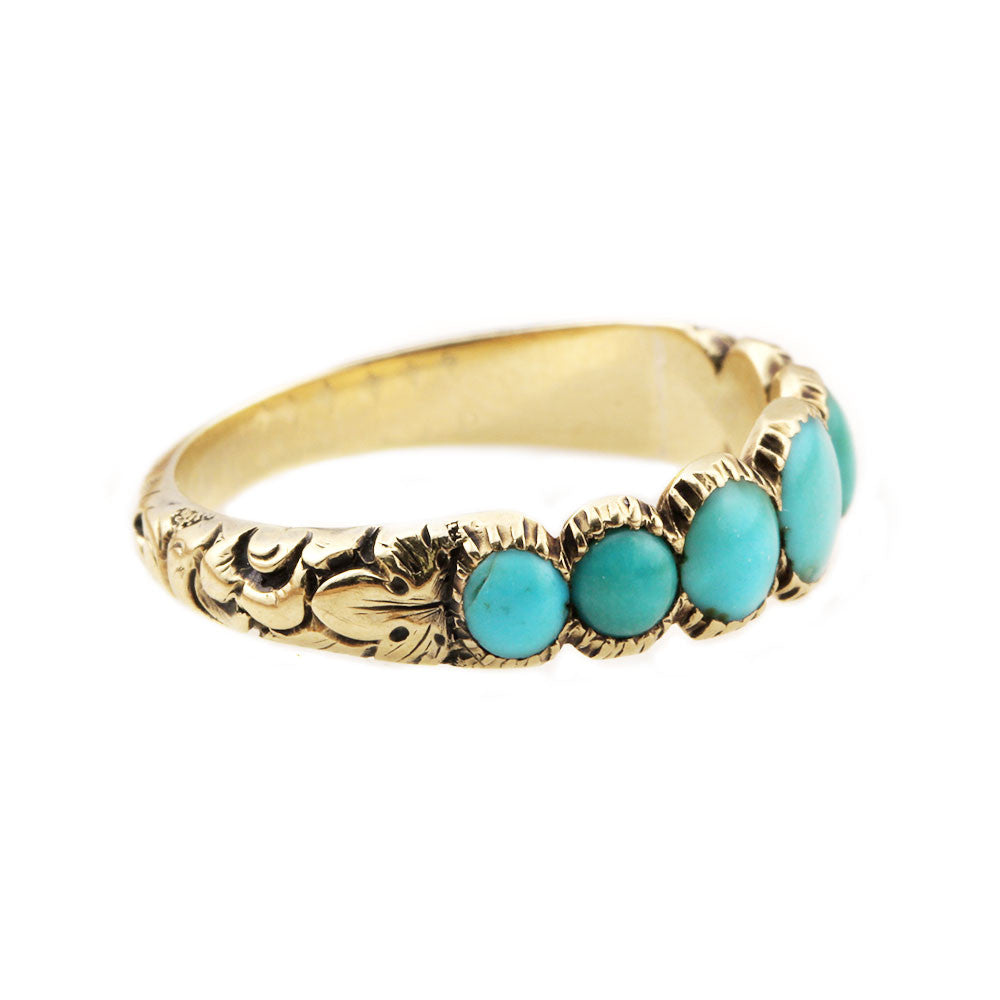 Victorian Chased Gold Ring with Persian Turquoise