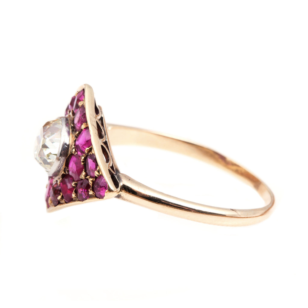 Edwardian Old Mine Cut Diamond and Ruby Ring