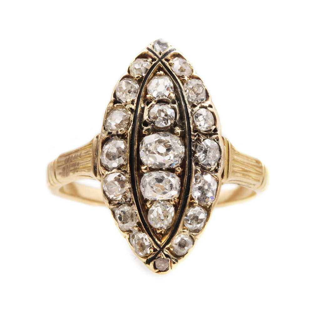Victorian Navette Shaped Old Mine Cut Diamond Ring