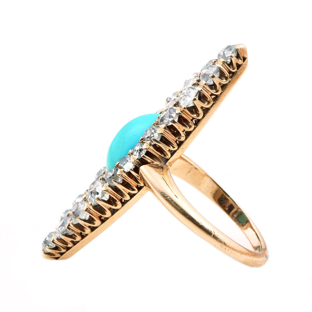 Victorian Old Mine Cut Diamond & Turquoise Navette Ring