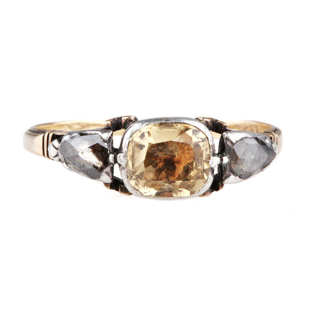 Georgian Topaz & Diamond Ring