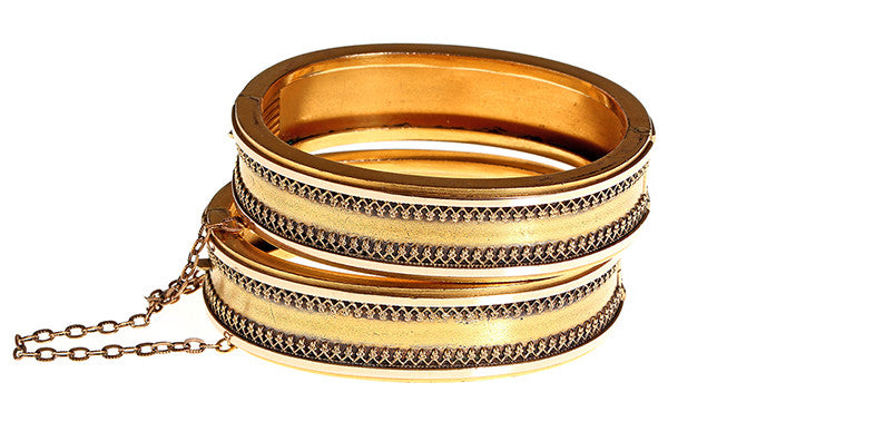 Pair of Victorian Era Rolled Gold Wedding Bracelets