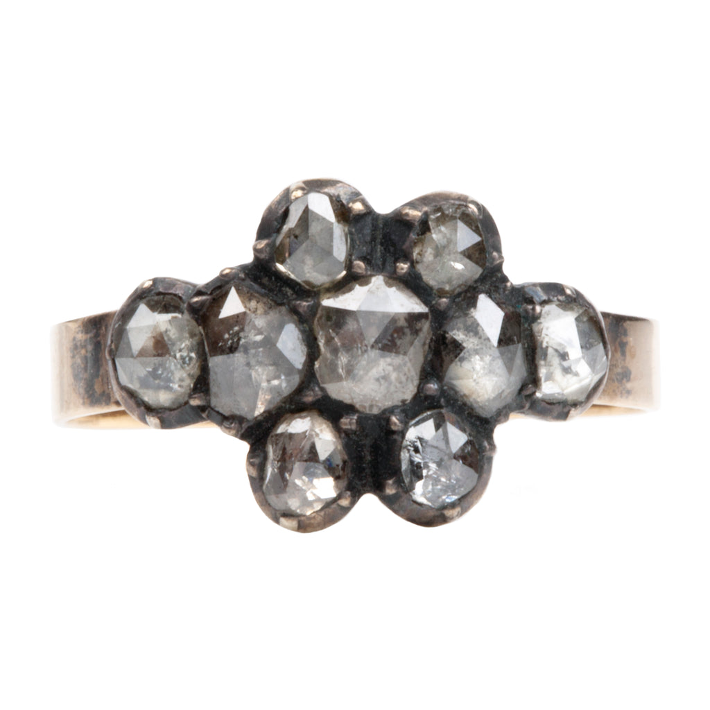 Georgian Era Rose Cut Diamond Cluster Ring