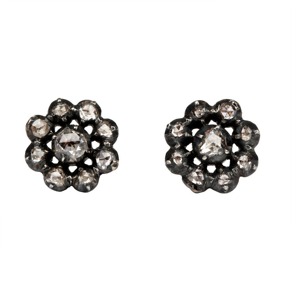 Petite Georgian Diamond Cluster Stud Earrings