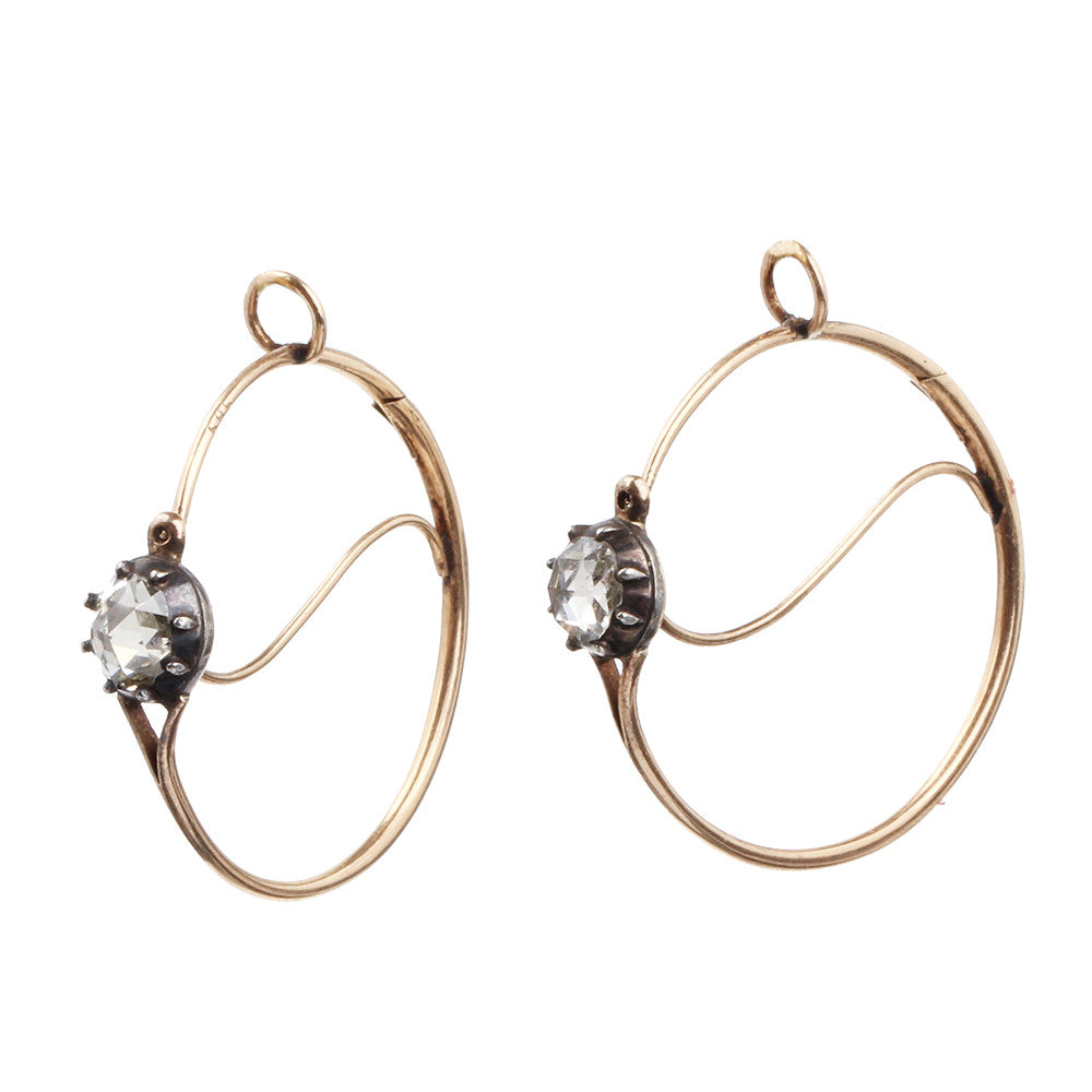 Georgian Rose Cut Diamond Poissarde Earrings