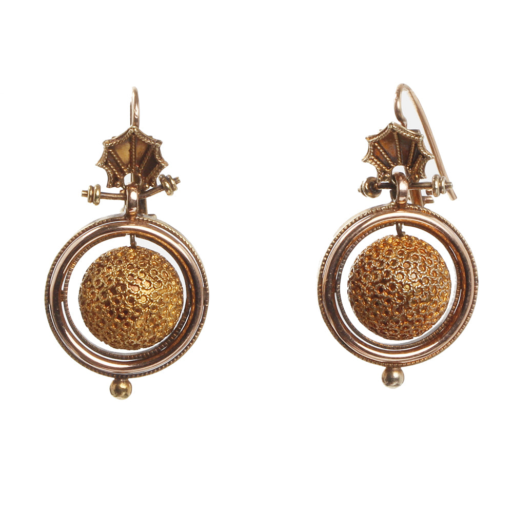 19th Cenutry Etruscan Revival Gold Earrings