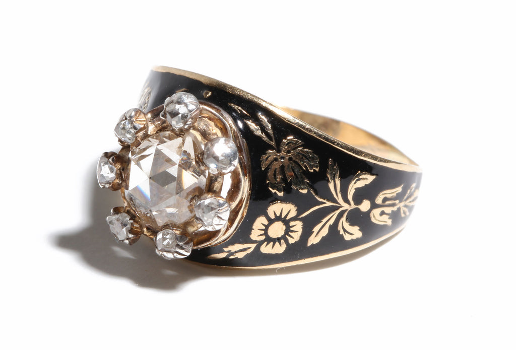 Rosecut Diamond & Enamel Ring