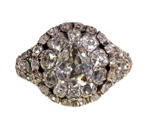 Georgian Pear Shaped Double Halo Diamond Cluster Ring