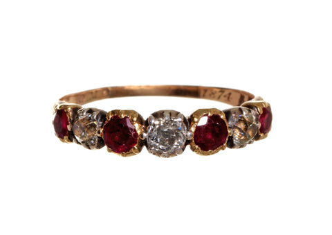 Early Victorian Old Mine Cut Diamond & Ruby Ring