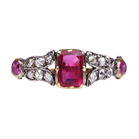 Victorian Ruby and Old Mine Cut Diamond Ring