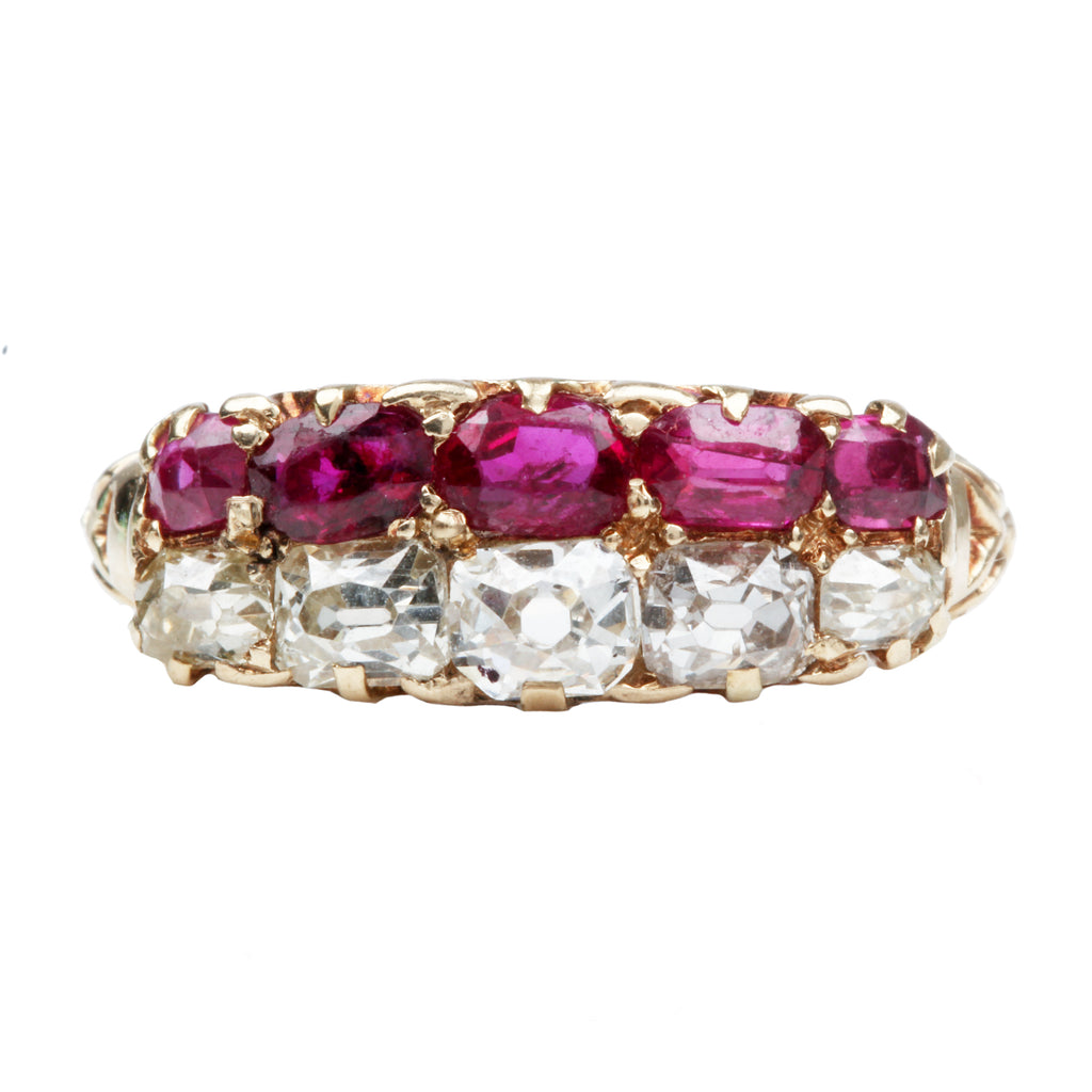 Victorian Era Ruby and Diamond Half Hoop Ring