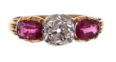 English Ruby and Diamond Ring
